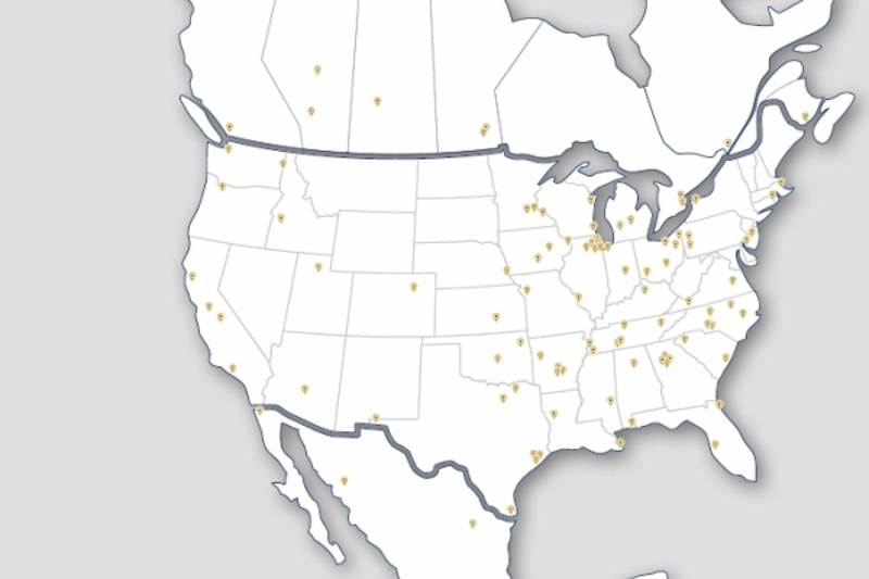 Map of Ryerson facilities throughout North America and Mexico