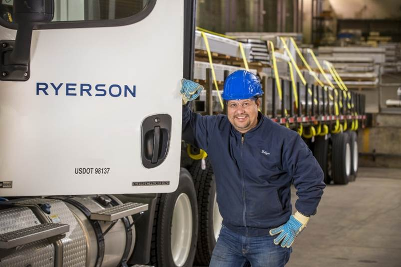 Ryerson employee by delivery truck
